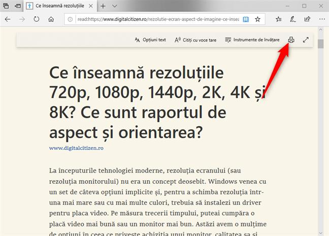 Tipărește o pagină web folosind Vizualizarea citire din Microsoft Edge