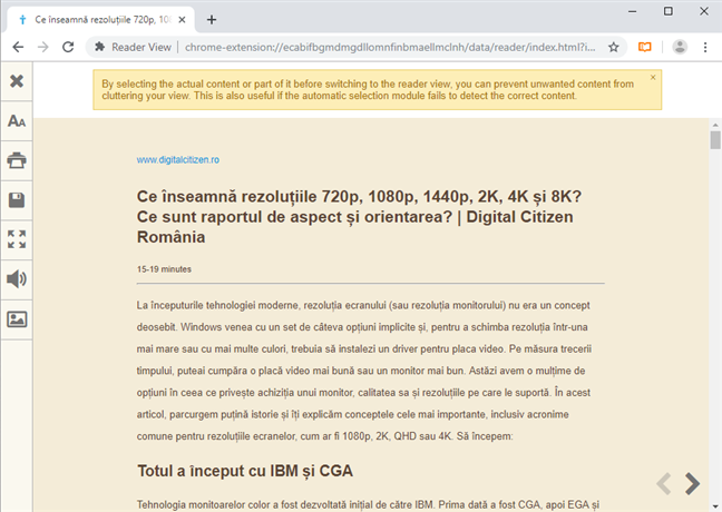 Tipărește o pagină web folosind Reader View în Google Chrome