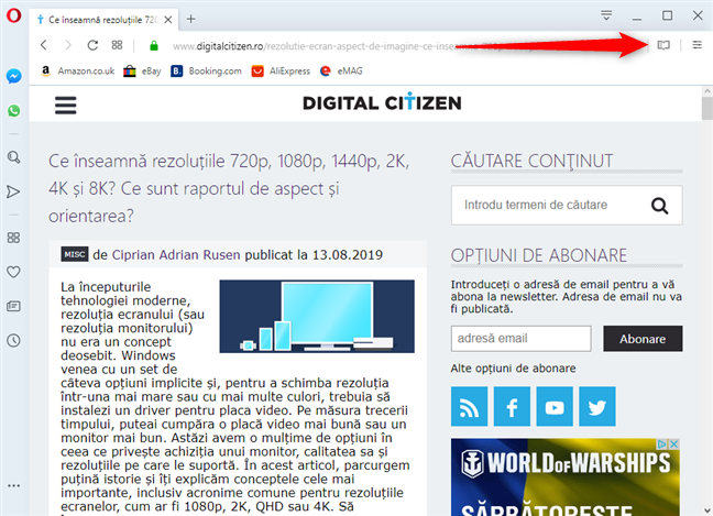 Activează Reader View în Opera