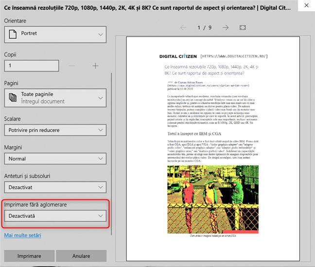 Caută Imprimare fără aglomerare în Microsoft Edge