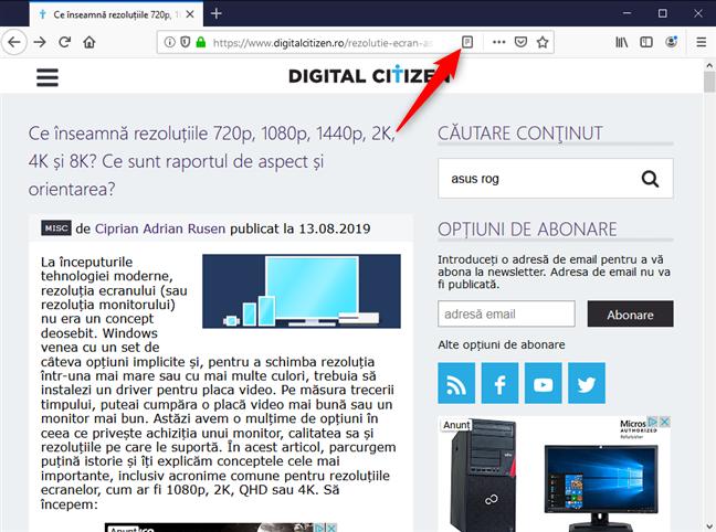 Comută pe modul de lectură în Mozilla Firefox