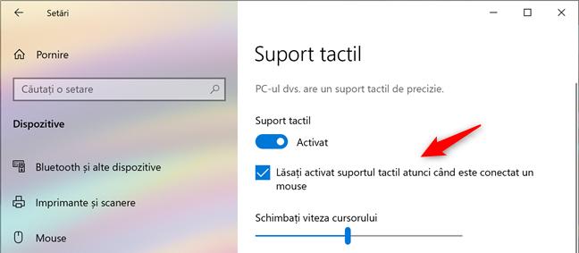 Setarea care dezactivează touchpad-ul atunci când conectezi un mouse