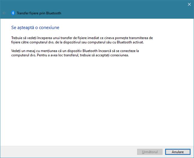 Windows 10 așteaptă o conexiune prin Bluetooth