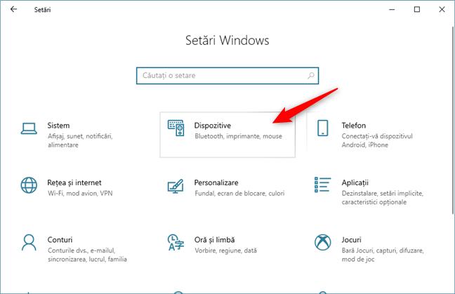 Categoria Dispozitive din Setările din Windows 10