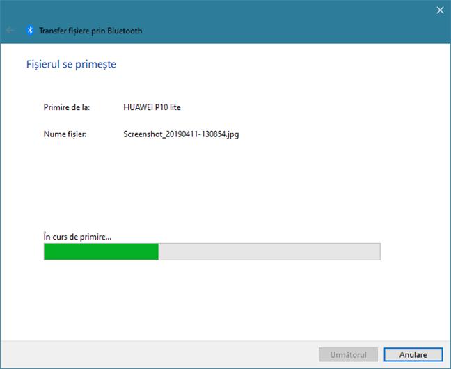 Primire de fișiere prin Bluetooth pe un laptop cu Windows 10