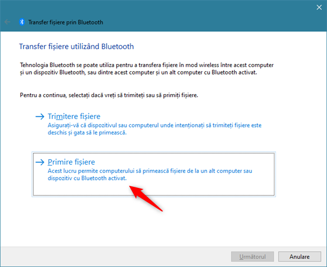 Selectarea opțiunii de a primi fișiere prin Bluetooth