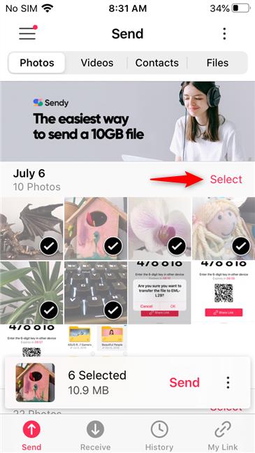 Alte opțiuni de selectare disponibile în aplicația Send Anywhere