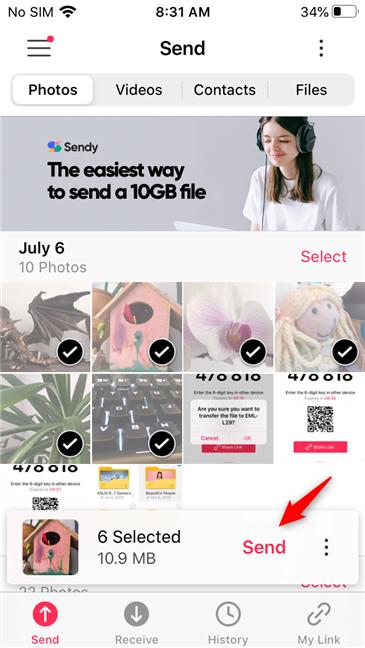 Opțiunea de a transfera fotografiile de pe iPhone pe Android cu Send Anywhere