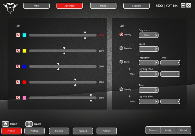 Aplicația pentru mouse-ul Trust GXT 144 Rexx