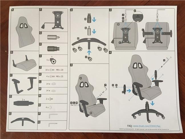 Manualul utilizatorului pentru scaunul de gaming Trust GXT 707 Resto V2
