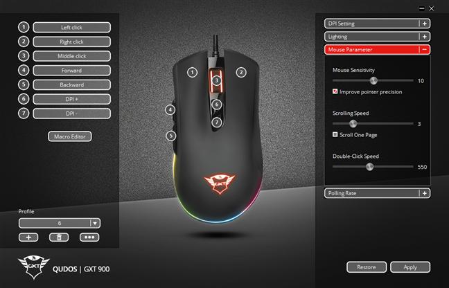 Ajustarea parametrilor mouse-ului