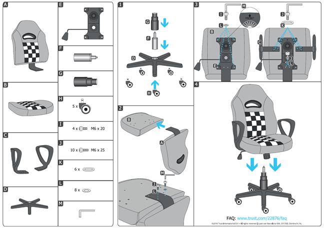 Trust GXT 702 Ryon Junior - manualul de asamblare