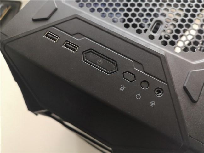 Panoul frontal de pe carcasa de calculator ASUS TUF Gaming GT301