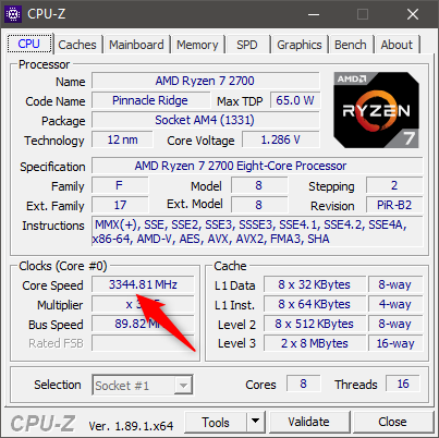Monitorizarea unui procesor AMD Ryzen 7 2700 cu CPU-Z