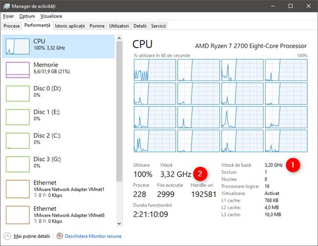Monitorizarea unui procesor AMD Ryzen 7 2700 cu Managerul de activități