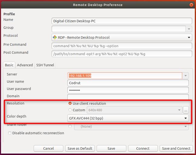 Configurarea rezoluției și a adâncimii de culoare pentru desktop la distanță