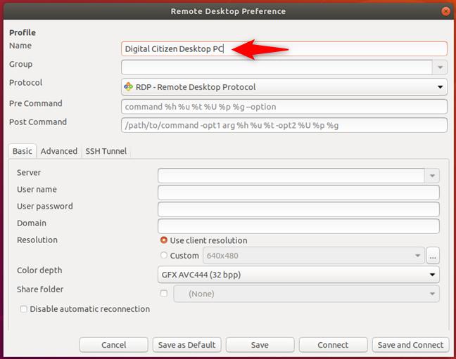 Alegerea unui nume pentru profilul de conexiune desktop la distanță