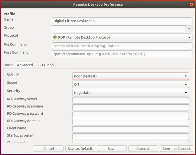 Configurarea setărilor avansate pentru conexiunea desktop la distanță