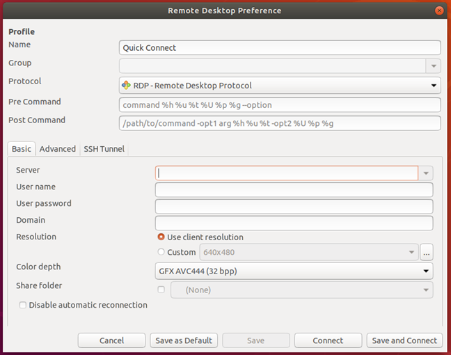 Fereastra Remote Desktop Preference