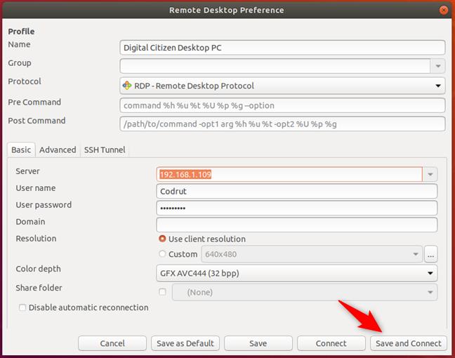 Salvarea profilului RDP și conectarea la PC-ul cu Windows