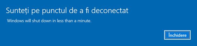 Windows 10 te informează de deconectare