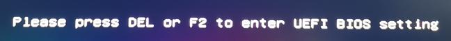 Mesajul afișat de o placă de bază ASUS: Apasă DEL sau F2 pentru a intra în setările UEFI BIOS