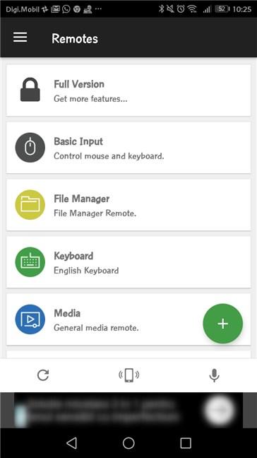 Lista de telecomenzi (Remotes) disponibile în aplicația Unified Remote