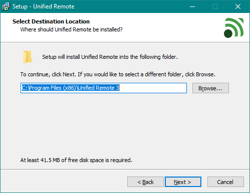 Expertul de instalare a aplicației server Unified Remote