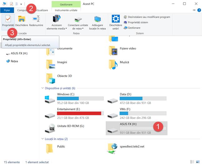Apasă pe Proprietăți în fila Computer din File Explorer