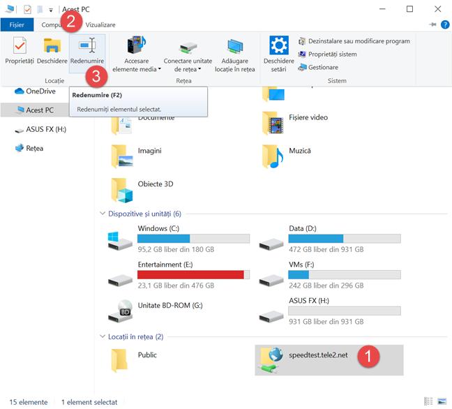 Apasă pe Redenumire în fila Computer din File Explorer