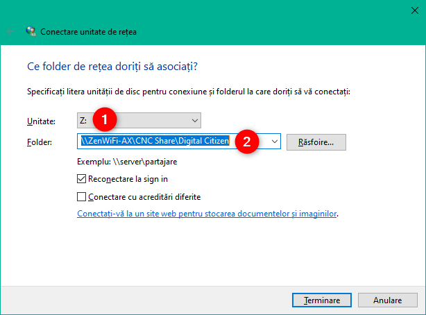 Alegerea folderului ce este mapat ca unitate de rețea