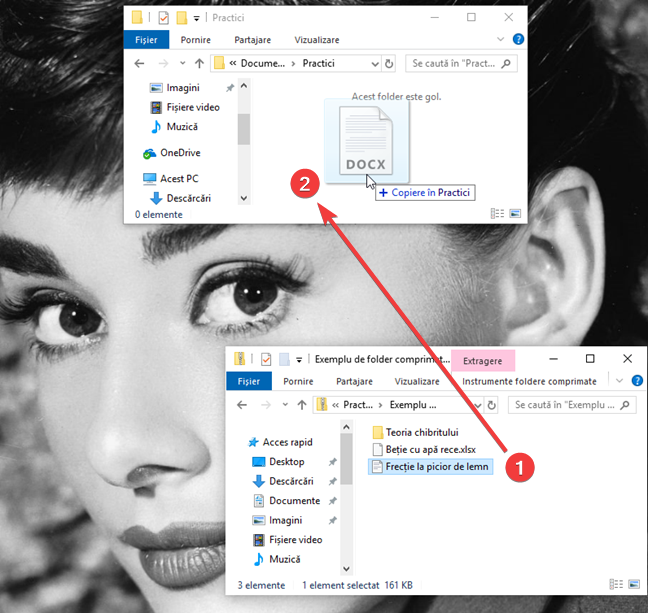 Trage și plasează un fișier sau un folder dintr-un fișier ZIP în Windows