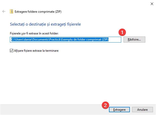 Extrage din foldere comprimate (ZIP) în Windows