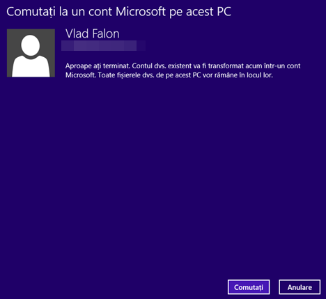 Windows 8.1, Setari PC, transforma, cont local, cont Microsoft