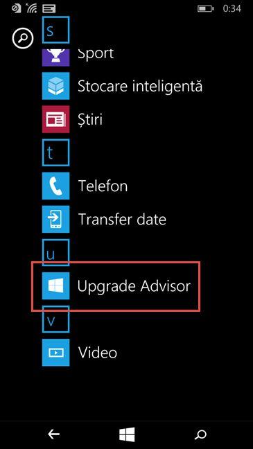 actualizare, upgrade, migrare, Windows Phone 8.1, Windows 10 Mobile, Upgrade Advisor