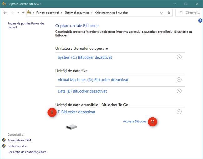 Activare BitLocker în Panoul de control