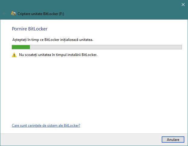 Expertul Criptare unitate BitLocker inițializează unitatea USB