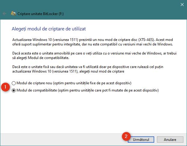 Alegerea de a utiliza noul mod de criptare BitLocker sau modul compatibil