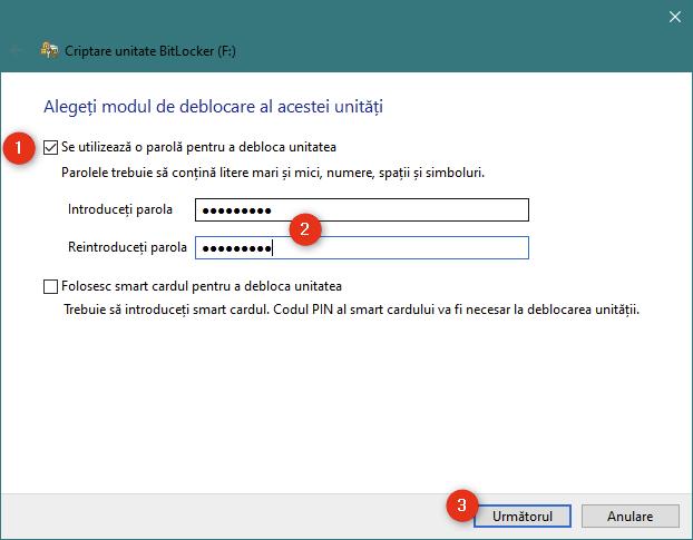 Selectarea utilizării unei parole pentru a debloca unitatea USB criptată cu BitLocker