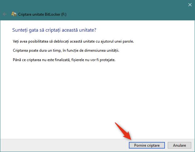 Pornirea criptării unității USB portabile