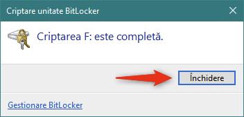 BitLocker a terminat de criptat unitatea de stocare portabilă
