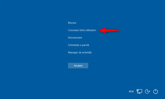 Comutare între utilizatori, apăsând pe Ctrl + Alt + Delete