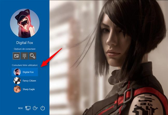 Selectarea utilizatorului, pe ecranul de introducere a parolei prin imagine