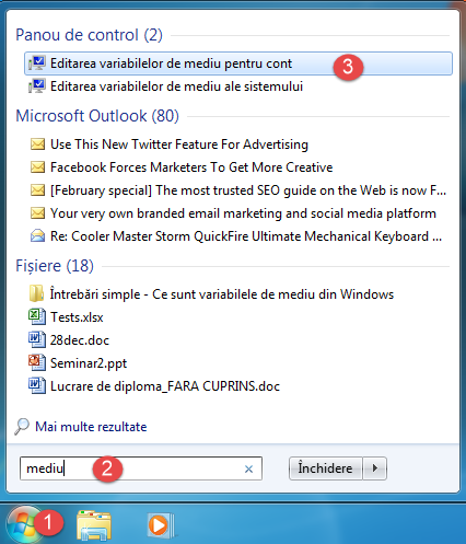 Windows, variabile, mediu, environment variables