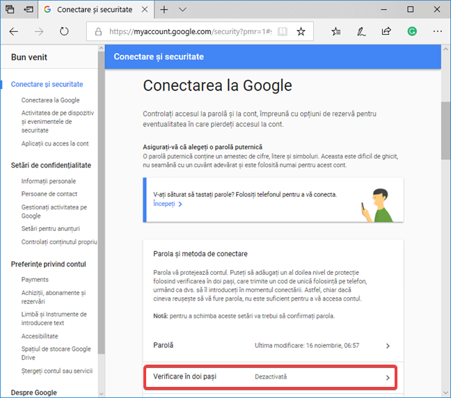 Verificarea în doi pași de la Google este dezactivată