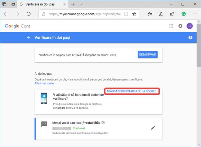 Adaugă Solicitarea de la Google la Verificarea în doi pași
