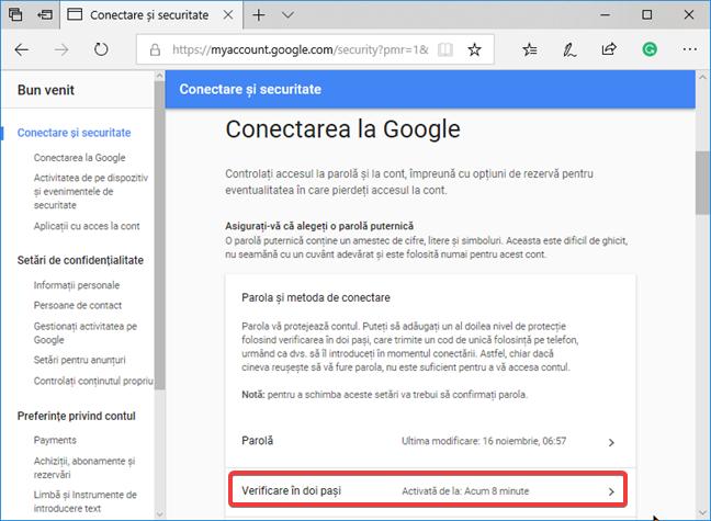 Accesează Verificare în doi pași pentru contul tău Google