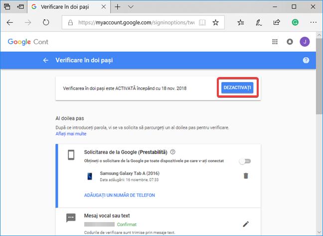 Dezactivarea Verificării în doi pași pentru contul tău Google