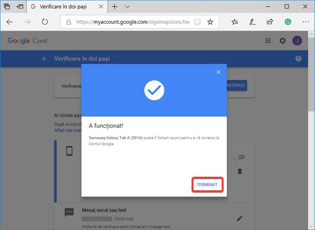 Încheierea setării pentru Solicitarea de la Google în Verificare în doi pași