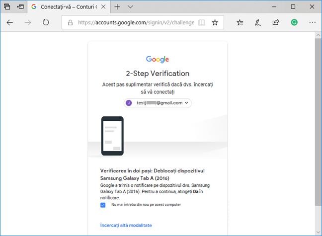 Verificare în doi pași pentru contul tău Google